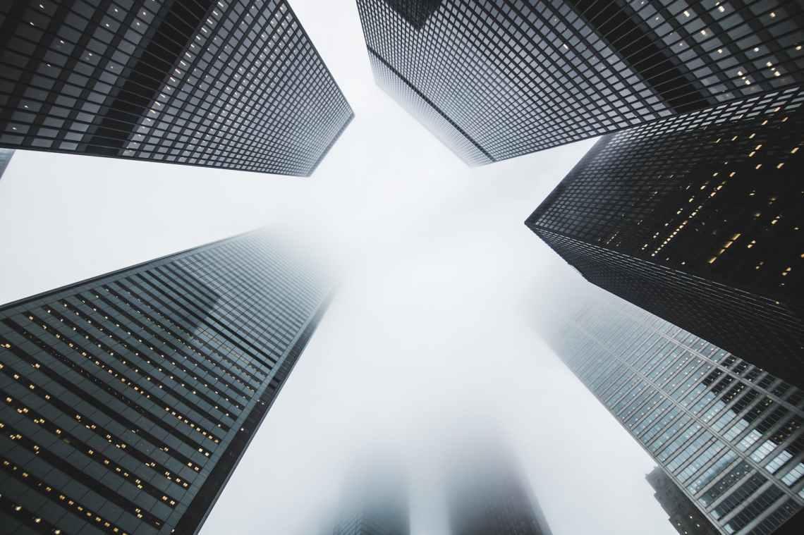 architecture buildings city fog